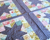 Modern Patchwork Placemats - Set of 4 - Teal, Green, Pink, Gray Placemats - Quilted Placemats - Ready to Ship!