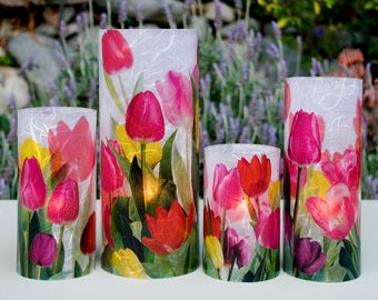 Tulips Extra Large candle holder centerpiece with 1 free Electric Tea Light.  Table lighting.  Patio decor.  Wedding centerpiece.  LED