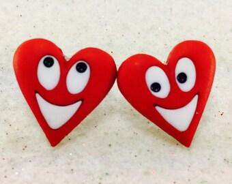 Valentine Earrings, Hearts Earrings, SweetHeart Earrings, Love Earrings, Red Heart Earrings