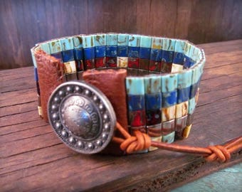 Beaded Leather Bracelet, Multi color Mosaic Tile Bracelet, Boho Bohemian Jewelry by GlowCreek