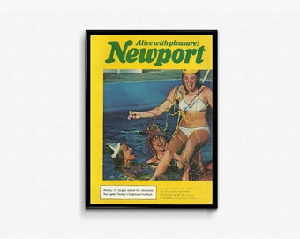 Smoking Ad • Yellow and Green Picture • Newport Brand Cigarettes • Teens Smoking • 80s Easy Going • 1980s Bar Prop • Newport Promotion Photo