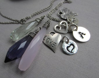 Personalized Necklace/ Silver Charm necklace/ Gemstone charm necklace/ Initial Necklace/ Silver and gemstone charm necklace.
