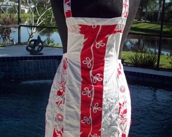 Red and White Vintage Flower Apron