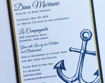 Navy Blue Anchor Bridal Shower Invitation