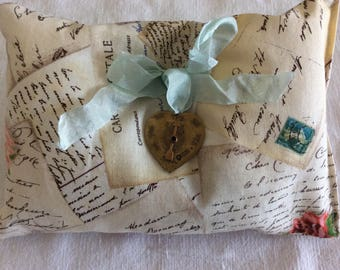French Lavender Sachet Pillow, Carte Postale, Large Brass Heart (#1327)
