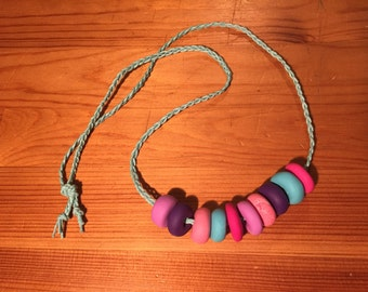 Romantic pastel polymer clay beaded necklace