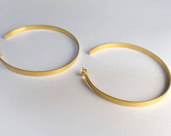 Thic Gold Hoop Earrings, Brass Earrings, Gold Plated Hoop Earrings,Silver, Geometric Earrings,Oversized Open Hoop Earrings