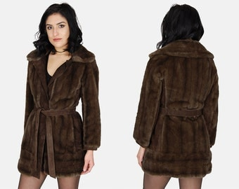 London Leathers FAUX FUR Mink Jacket Vtg 60's Lilli Ann Dark Brown Suede Leather Wrap Tie Trench Long Warm Winter Coat - Small/Medium