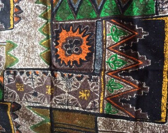 Vintage Original 1950's/60's Geometrical/ Abstract /Floral Design in Orange Green and Brown Fabric