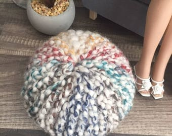 1:4 scale Handknit Multi-Color Pouf for dioramas for Tonner and similar 16 inch dolls