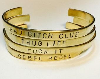 Rebel Rebel Stamped Brass Cuff Bracelet