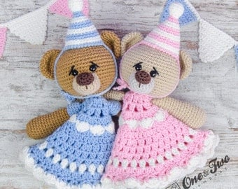 Mia and Owen the Birthday Bears Lovey / Security Blanket - PDF Crochet Pattern - Instant Download - Blankie Baby Blanket