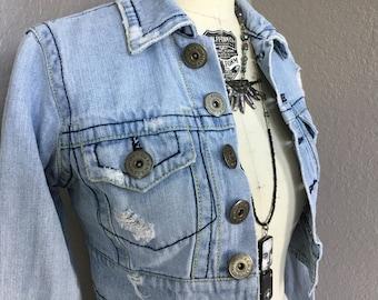 Vintage Z Cavaricci Short Distressed Denim Jacket Size XS Extra Small