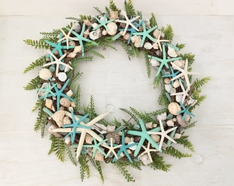 "24"" Beach Wreath, Coastal Wreath, Seashell Wreath, Starfish Wreath, Beach Decor, Coastal Decor, Shell Wreath, Grapevine Wreath, Aqua Wreath"