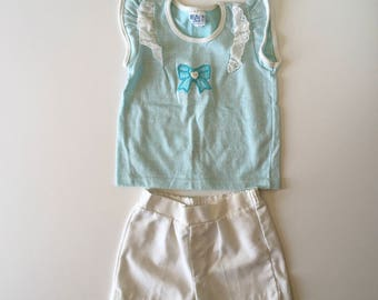 1980's Bow Flutter Top & Shorts Set (5t)