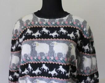 Vintage Susan Bristol Sheep Pattern Lambswool & Angora Sweater 1988