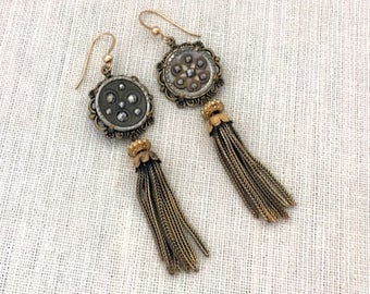 UPcycled Button Earrings - Antique Button Tassel Earrings - Dangle Earrings - UPcycled Jewelry Earrings - Unique One of a Kind Earrings Gift
