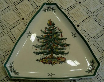 Spode Christmas Tree Plate, Triangular Serving Platter