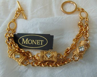 vintage monet nwt unused etruscan revival stations double strand toggle closure bracelet clear gold plated