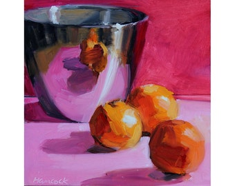 Silver Pot with Clementines on Pink - Saturated Colors Kitchen Still Life