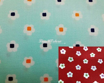 SALE - Cute flower with block inside, 1/2 yard, pure cotton fabric