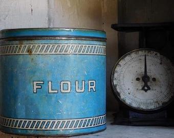 Vintage Blue Flour Tin Canister, Blue and White Shabby Farmhouse Cottage Primitive Decor
