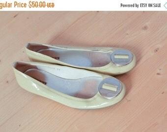 SALE Yellow Patent Leather PRADA  shoes Ballet flat Shoes Vintage 90's Us7 Eu37