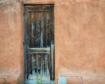 Southwestern Door Photography Print Fine Art New Mexico Adobe Southwest Rustic Spring Landscape Photography Print.