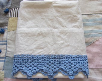 Vintage White Pillowcases Blue Filet Crochet Lace End Pequot Cotton