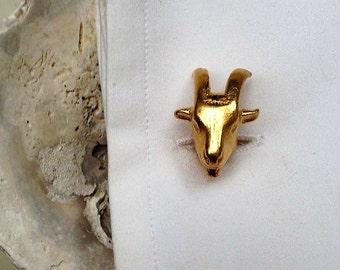 Goat cuff links,Goat jewelry,limit edition,original cufflinks,punk cufflinks,handmade men jewelry gold cuff links, cuff links
