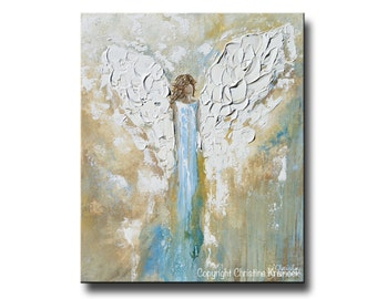 GICLEE PRINT Art Abstract Angel Painting Acrylic Painting Home Decor Christmas Gift Wall Decor Angel Wings White Blue Gold Aqua - Christine