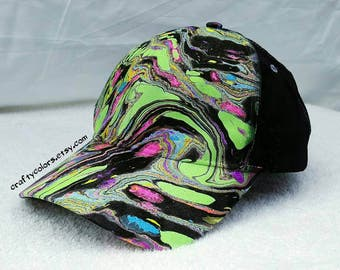 Fluorescent Marbled Hat Tie Dye Hat Painted Hat - 3161