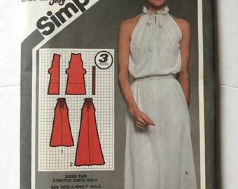 Vintage 80s Simplicity 9823 Super Jiffy Summer Pullover Dress Size 10 Uncut