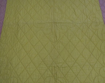 """Vintage quilt  whole cloth, hand quilted solid gold, pumpkin  and rose colors  from the 1930's provenance included  64"""" x 82"""""""