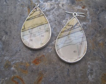 Silver drop earrings, Nautical chart jewelry, gifts for her, dangle earrings, Vintage Nautical Chart Map, girlfriend gift, one of a kind