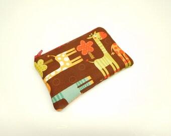 brown orange giraffe change purse, red brown giraffe coin purse, small wallet, brown red zipper bag, card holder, brown animals zipper bag