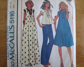 McCALL'S Pattern 5116 Misses' Dress or Top    1976      Uncut