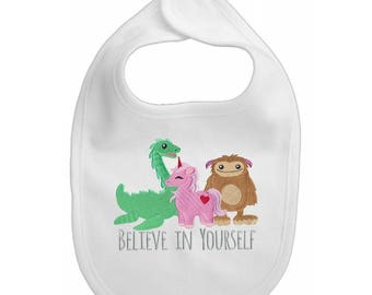 Believe In Yourselve embroidered baby bib