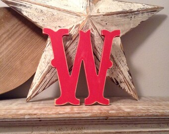 Painted Wooden Letter - Letter W - Circus Font - 40cm high, 16 inch, any colour, wall letter, wall decor, 18mm