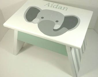 Personalized Step Stool - Boy Elephant Nursery - Bathroom Step Stool - Step Stool for Kids - Boy Nursery Decor - Step Stool for Toddlers