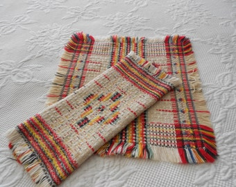 Dish Cloth Pair - Set of 2 Vintage Towels - Southwestern Design - Rustic Farmhouse Fringed Edge