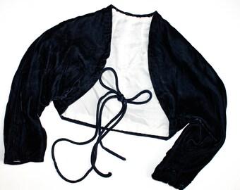 Vintage 1930s shrug . Edge of Midnight . blue velvet bolero jacket . 1930s silk velvet shrug