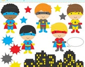 75% OFF SALE superhero clipart digital clip art super hero boys - Super Boys Clipart