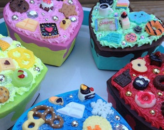 Small heart decoden box kawaii cake box jewelry trinket box pasteboard boxes colorful hearts candy cabs valentines