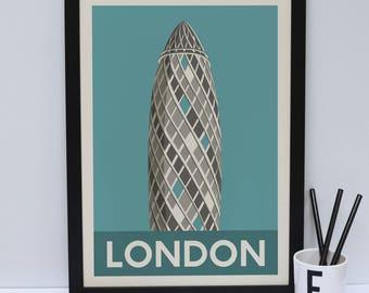 The Gherkin print                 -  London artwork - London print - London Architecture - London design - Statement poster