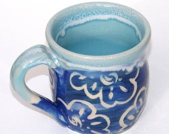 Carved Funky Blue Coffee Cup