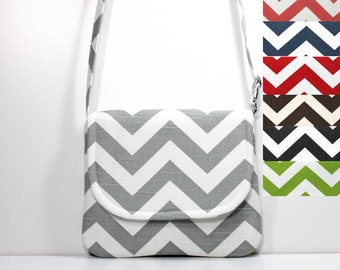 Small Crossbody Bag Small Shoulder Purse Sling Bag Hobo Bag CrossBody Bag - Choose Your Chevron Color - Black Red Gray Green Teal Yellow