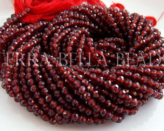 """13"""" strand MOZAMBIQUE GARNET faceted gem stone round beads 3mm - 3.5mm red"""