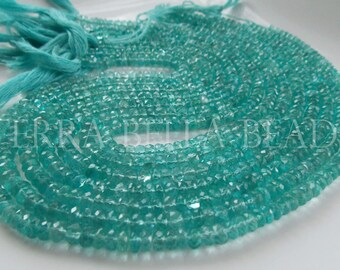 "13"" strand aqua blue APATITE faceted gem stone rondelle beads 4.5mm"