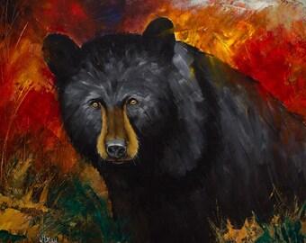 BLACK BEAR PAINTING * Original Acrylic Painting on Canvas * Rustic Modern Bear Wall Art * Bear Art * Log Cabin Wall Art